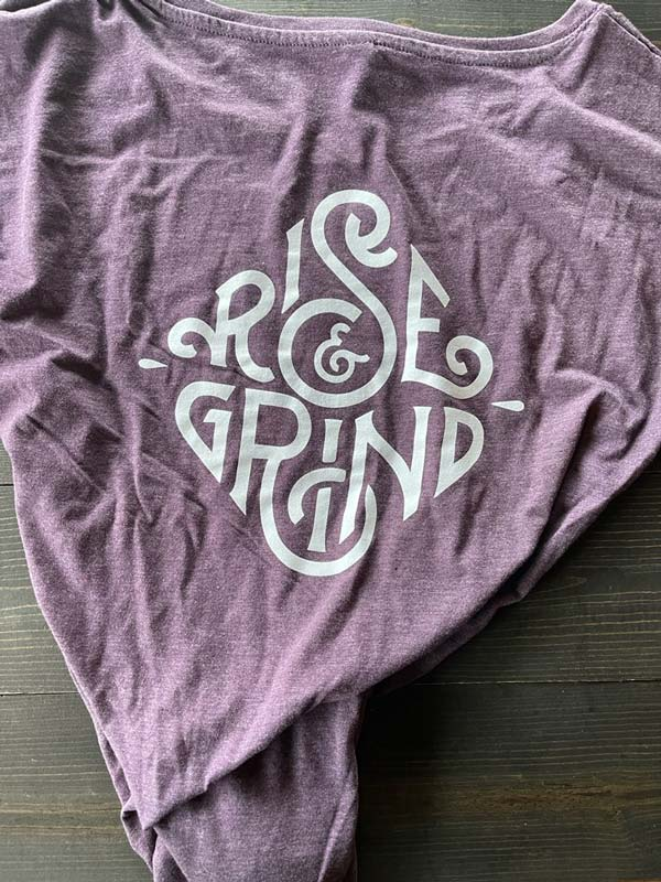 Purple Swoop Neck Tee Back