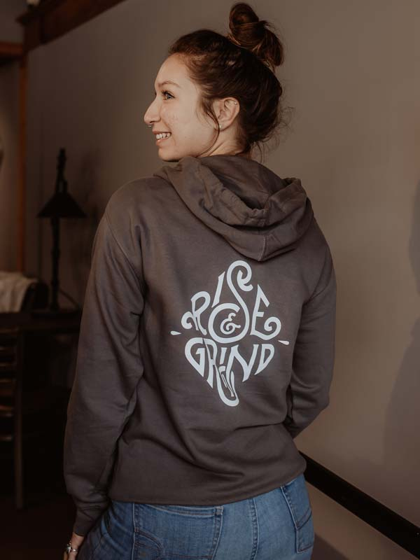 Gray Rise and Grind Hoodie Back
