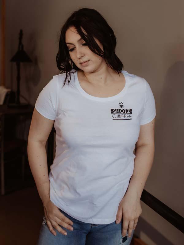 White Crew Neck T Shirt Front
